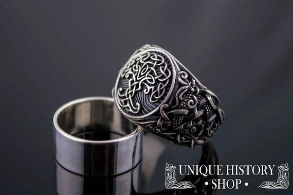 Handmade Yggdrasil Symbol Signet Sterling Silver Scandinavian Tree Norse Jewelry 925 Silver Yggdrasil The World Tree Viking Ring