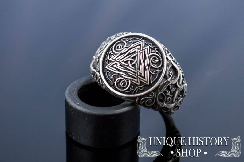 60b2f86964834 Viking Ring • Valknut Ring • Urnes Ornament • Unique Norse Ornament •  Floral Ornament Ring • Silver Viking Ring • Handcrafted Viking ...
