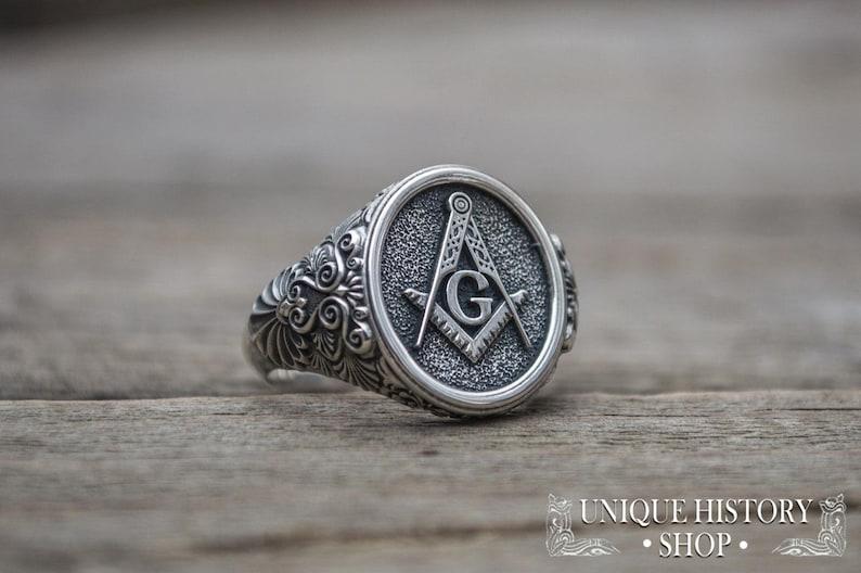 Silver Masonic Signet, 925 Silver Masonic Ring, Knights Templar Signet,  Freemasonry Ring, Knights Templar Ring, Ring with Masonic Symbol