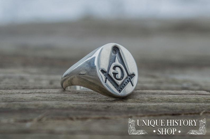 Inversed Masonic Signet, Silver Masonic Ring, Simple Masonic Ring,  Freemasonry Ring, Knights Templar Ring, Ring with Freemasonry Symbol