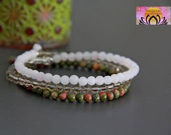 Unakite Rose Quartz Wrap Bracelet-Sterling Silver Finding-Gemstone Bracelet-Maternity Pregnancy Baby Shower-Glass beads-Intention-Boho-Yoga