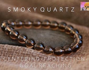 Quartz Bracelet Smoky Quartz Bracelet in Gold or Silver Handmade in Australia Free Shipping Sagittarius and Capricorn Birthstone
