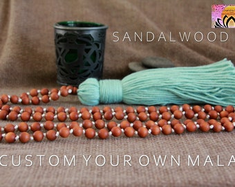 CUSTOMIZE Your Sandalwood Mala Beads-Pick a Colour-Long Tassel Necklace-108 Mala Beads-Boho Hindu Yoga Jewelry-Organic Jewelry-Meditation