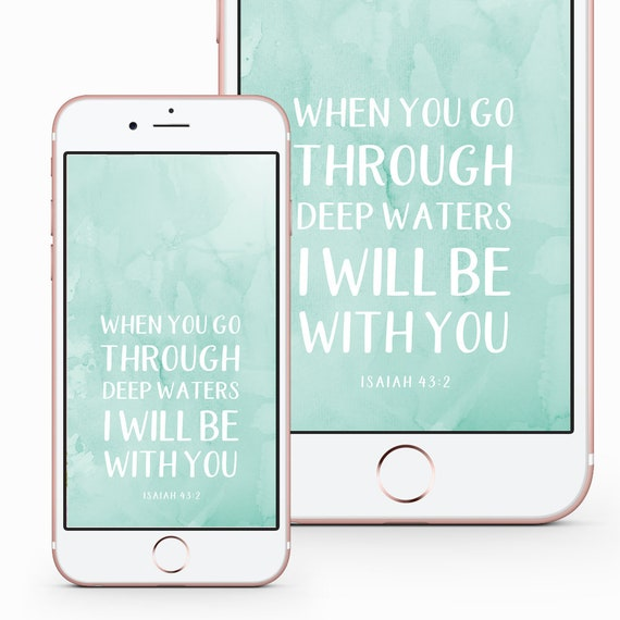 Phone Lock Screen Wallpaper Isaiah 43 2 Iphone Background Etsy