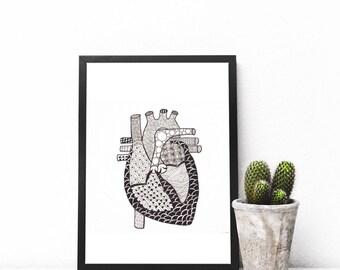 Anatomical Heart Zendoodle, Adult coloring page, Digital print