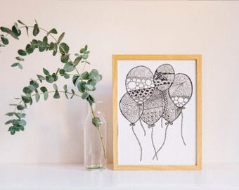 Balloons Zentangle, Zendoodle, For card making or as a coloring page,