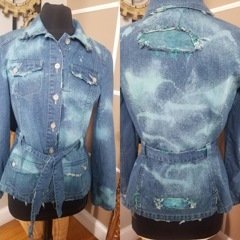 Custom denim aqua blue tie dye distressed jacket with belt
