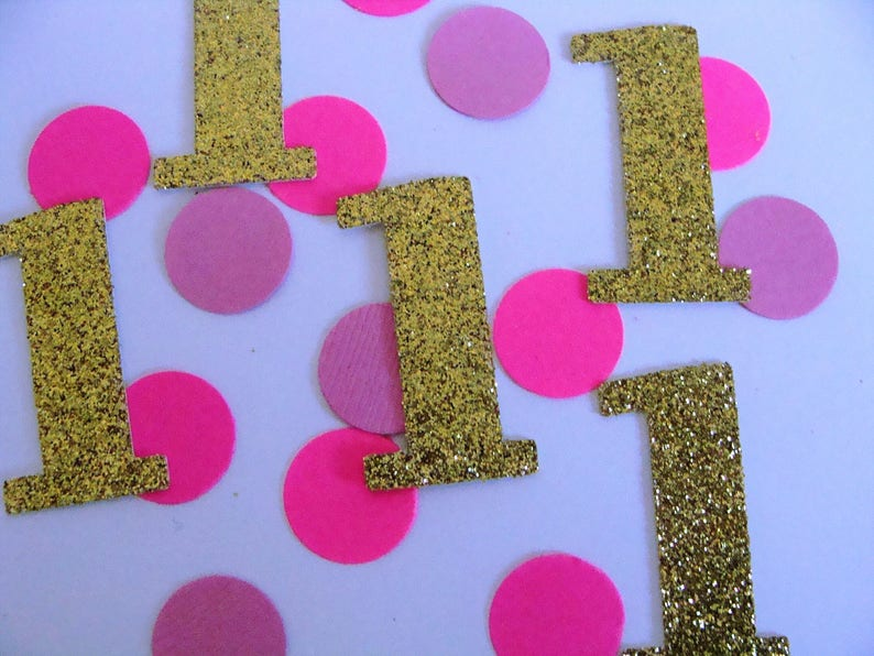 1st Birthday Confetti Pink And Gold Party