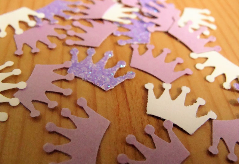 Baby Shower Decorations. Pink and White Crown Confetti 1st Birthday Party Decor Purple Crown Party Decorations Birthday Confetti
