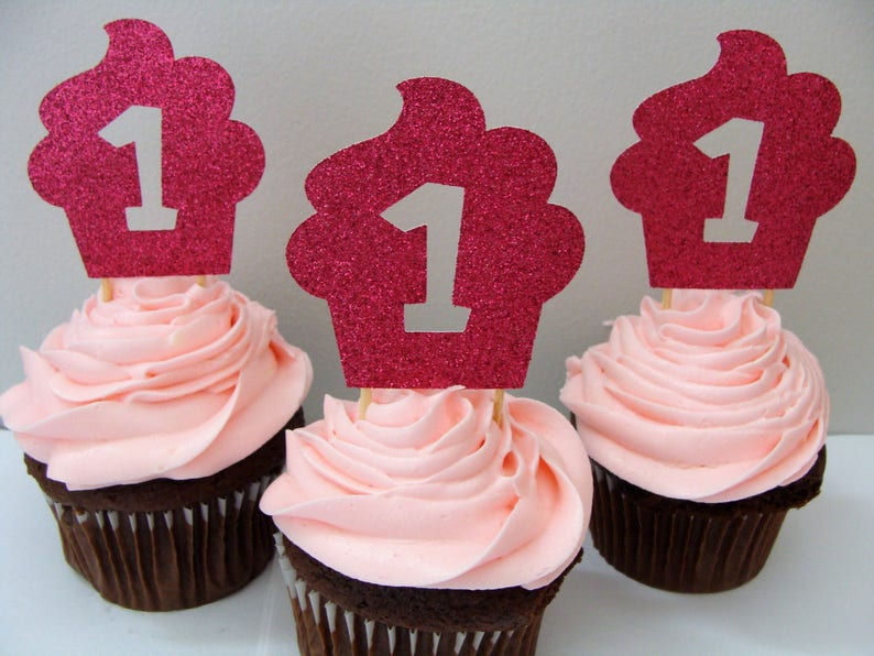 1st Birthday Cupcake Topper Party Decorations