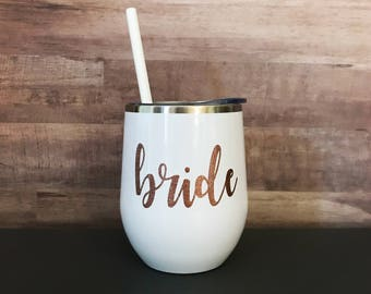 Bridal Party | Rose Gold | Wine Tumbler | Wine Cup | Wedding | Bachelorette Party | Bride Tribe | Personalized Mug | Bridal | Wedding Party