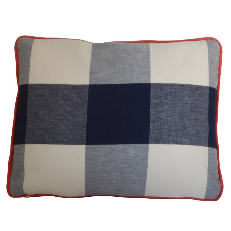 Handmade Navy and White Plaid Pillow Cover with Decorative Edge