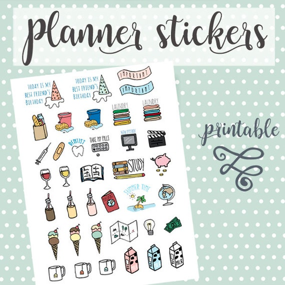 Planner Stickers Planner Stickers Printable Printable Stickers Scrapbook Stickers Stickers Hand Drawn Handmade Stickers Bullet Journal
