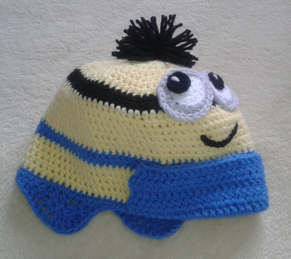 Croshet PATTERN Funny Earflap Hat Inspired By Minions   PDF    efa27939a33
