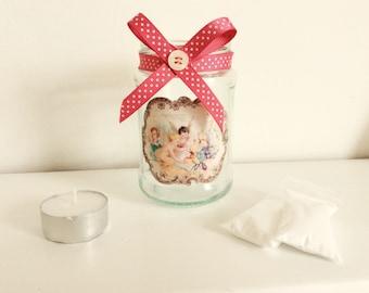 Shabby Chic Cherub Candle Jar