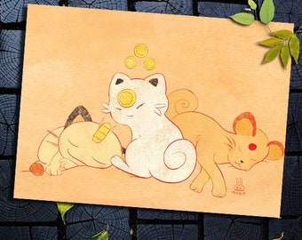 Postcard gift Manga Pokemon Japanese art baby Meowth