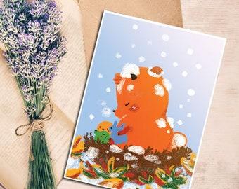 Postcard Christmas Fox  Cute décoration children