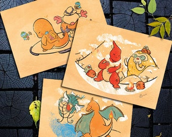 3 Postcards Gift Manga Pokemon Japanese art Charmander, Charmeleon, Charizard