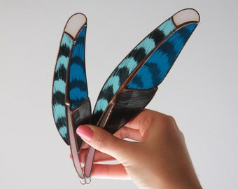 Blue Jay Feathers (light blue)  [ stained glass ]