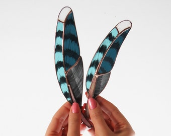 Blue Jay Feathers (dark blue)  [ stained glass ]