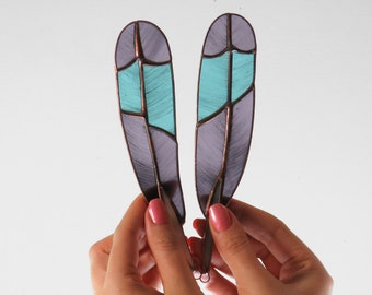 Roller Feathers (purple with blue)  [ stained glass ]