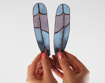 Roller Feathers (blue with purple)   [ stained glass ]