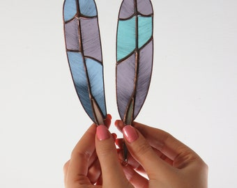 Roller Feathers (purple and blue)   [ stained glass ]