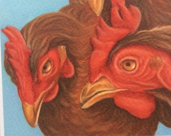 ex-battery hen chickens painting