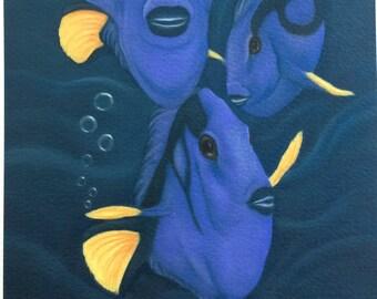 blue tang fish painting