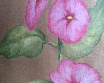 ORIGINAL hollyhocks pastel drawing picture