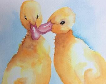 ORIGINAL ducklings watercolour painting