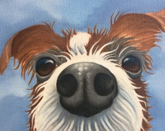 "wire haired jack russell painting ""Peanut"""
