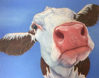 """hereford cow painting """"Agatha"""""""
