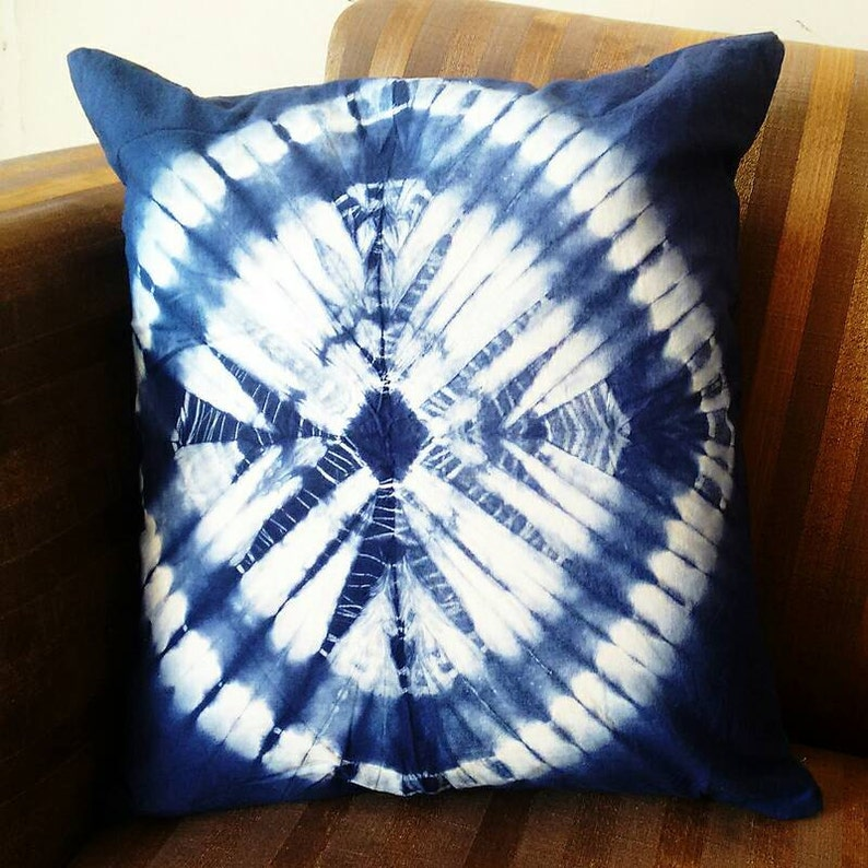 Decorative Pillow Cases Indian Tie Dyed Indigo Blue Cushion image 0
