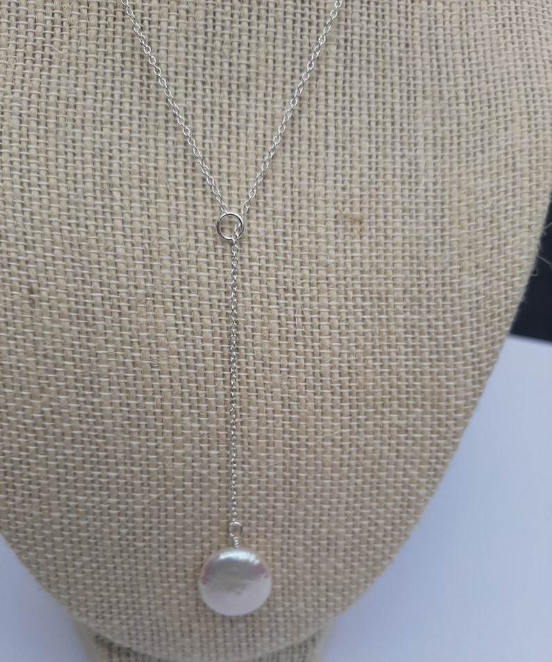 Pearl Pendant Necklace. Pearl Y Necklace Lariat Pearl Necklace