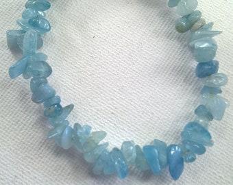 Genuine Aquamarine Nugget stretchy bracelet, Aquamarine bracelet, Aquamarine, Summer jewellery, Aquamarine jewelery, birthstone bracelet