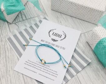 Karma bracelet, wish bracelet, circle bracelet, gift for yoga lover, Yoga bracelet, friendship bracelet, gift for her, spiritual gift