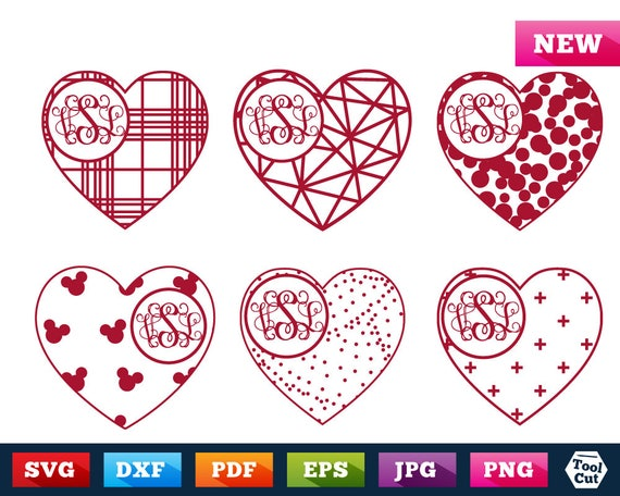 Heart Monogram Frame Svg Valentine S Day Monogram Svg Etsy