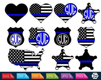 Policeman Svg USA Police Svg America Flag Monogram Frame Svg Police Initial Border Svg Protect And Serve SVG Cricut Files Patriot Svg Dxf