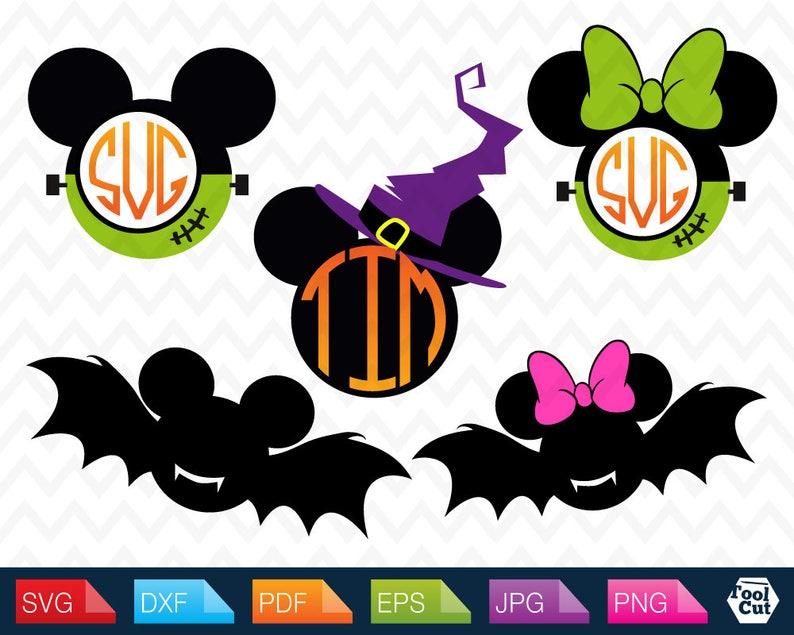 Mickey Mouse Halloween Monogram Svg Disney Initial Frames Svg Minnie Mouse  Monogram Frame Svg Mickey Ears Svg Silhouette Svg Dxf Cricut Svg