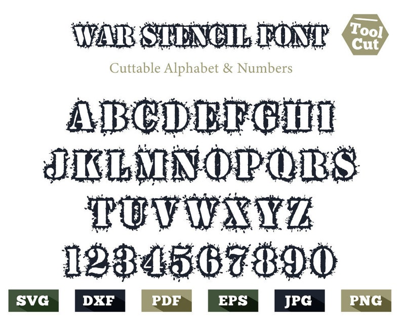 War Stencil Monogram Font Svg Military Font Svg Heavy Font Svg Army Stencil  Alphabet Svg For Men Stencil Letters Svg Cricut Silhouette Dxf