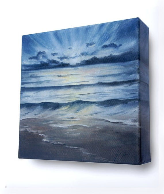 sea light house ocean light house painting Metal Epoxied Home Painting an original oil painting by Sara Alvord seascape landscape