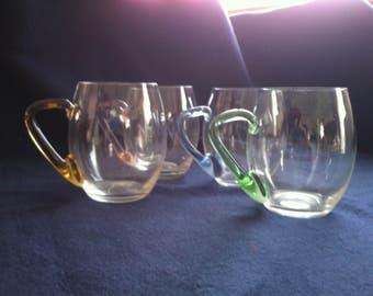 Hand blown cider mugs set of 4