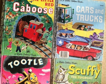 Little Golden Book Set of 4 : Little Red Caboose, Cars and Trucks, Tootle, Scuffy