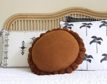 Dream Big Little One Elephant Round Cushion with pom pom Baby Boy Blue