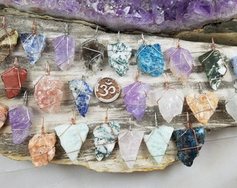 Crystal Pendants - Raw Crystal Jewelry - Rough Gemstone Pendants, Wire Wrapped Pendants, Wire Wrapped Jewelry, Healing Crystals Reiki Stones