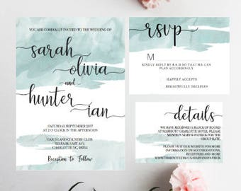 PRINTED Seafoam Wedding invitations, Calligraphy Wedding Invitations, Beach Wedding Invitation, Seafoam Wedding, Summer Wedding