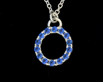 Blue Spinel  Halo Sterling Silver Circle Pedant - Traditional Pave - Tiny Hand Engraved