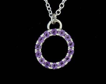 Amethyst Halo Sterling Silver Circle Pedant - Traditional Pave - Tiny Hand Engraved