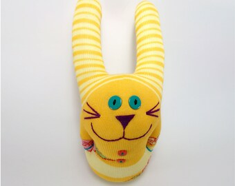 "9,5"" Orange Stripped Handmade Stuffed Sock Bunny Toy"